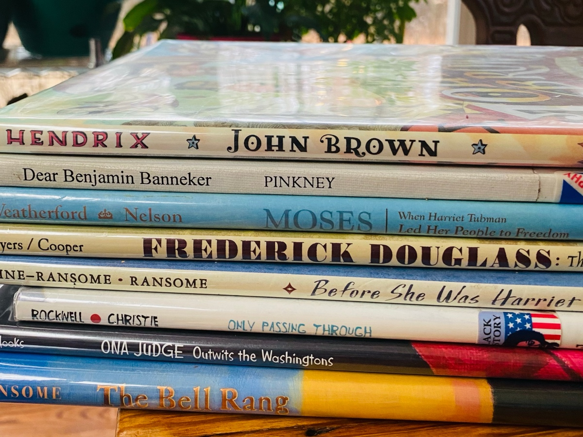 Stack of Abolition Picture Biography Books