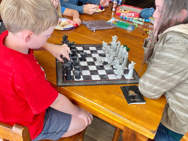 Playing the game Harry Potter chess with family