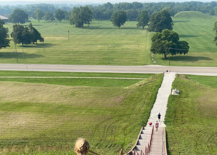 Looking out at all the mounds from Monks Mound at Cahokia