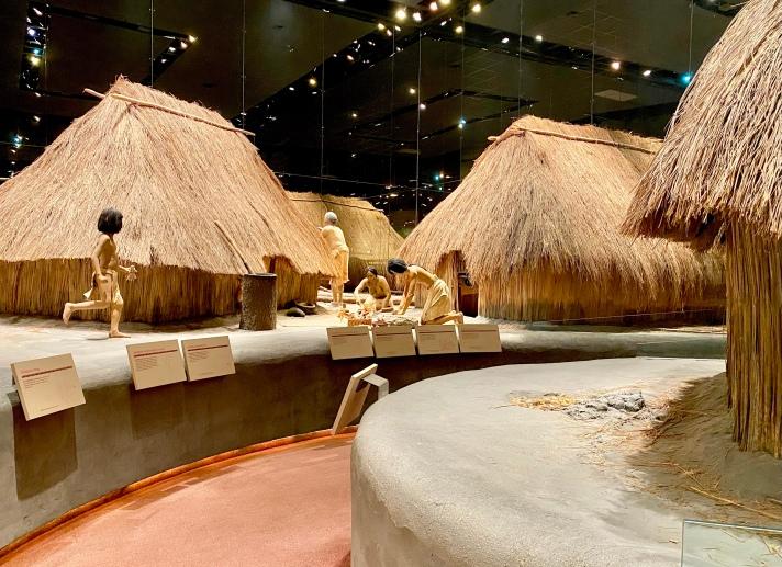 Cahokia Village in the Cahokia Mounds Visitor Center