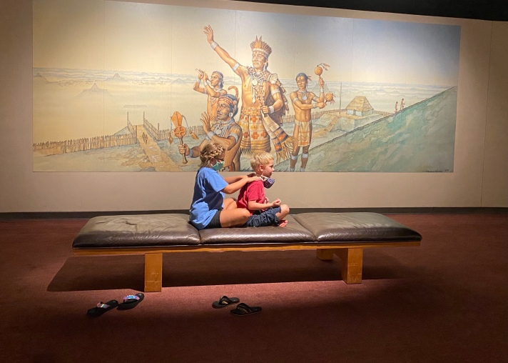 Relaxing at the Cahokia Mounds Visitor Center